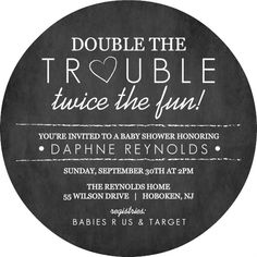 Chalk Double Trouble Twins Shower Invite