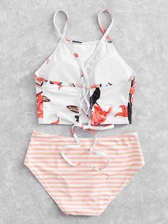 6225f568b1 Flower Print High Neck Bikini Set -SheIn(Sheinside) Bikini, Costumi Da Bagno