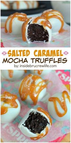 These No Bake mocha cookie dough truffles with white chocolate, caramel, and sea… Diese No-Bake Mokka Plätzchenteig Trüffel mit weißer Schokolade, Karamell und Meersalz ist erstaunlich! No Bake Truffles, Cookie Dough Truffles, Cake Truffles, Cookie Dough Cake Pops, Fudge, Candy Recipes, Sweet Recipes, Just Desserts, Delicious Desserts