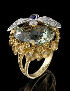 Master Exclusive Jewellery, collection World of Insects, insect on prasiolite flower ring