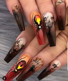 Nail art Christmas - the festive spirit on the nails. Over 70 creative ideas and tutorials - My Nails Holloween Nails, Halloween Acrylic Nails, Halloween Nail Designs, Cute Acrylic Nails, Fun Nails, Halloween Halloween, Scary Nails, Halloween Parties, Halloween Movies
