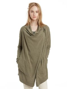 Cashmere Draped Cardigan | Women's Cardigans - INHABIT - Cashmere Draped Cardigan, $528
