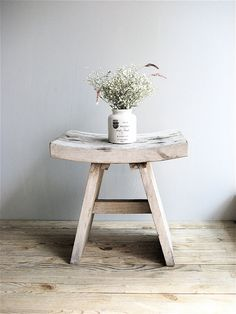 Vintage Wooden Bench. Just love this. Have a table/stool just like it! Need to find another ...