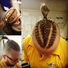 Trending: The man pictured above wears three braids tied into a ponytail while the remainder of his head is shaved
