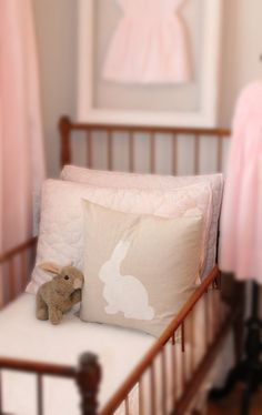 Linen Bunny Rabbit Silhouette Pillow Cover by MadelleineGrace. via Etsy.