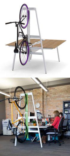 Work desk with bike rack