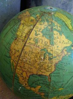 Oude Brocante Wereldbol Globe Geplakt Papier Groot