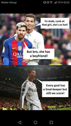 Lionel Messi And Cristiano Ronaldo Meme About Women. – Cumedy Hut – and as best Stress Killer. Funny Football Memes, Crazy Funny Memes, Really Funny Memes, Funny Relatable Memes, Funny Jokes, Funny Sports Memes, Funniest Memes, Hilarious, Memes Ronaldo