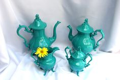 4 Piece Coffee/Tea Service by CandyDishesBoutique on Etsy