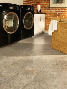 Flooring selection in upstairs bathrooms and laundry room.  Ancient Slate - Autumn Vinyl Sheet 66204