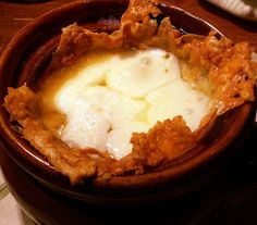 """Gluten Free French Onion Soup - made with baked parmesean cheese as the """"bread"""" - She is genius!"""