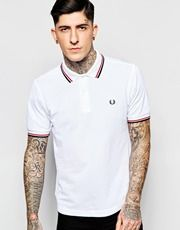 Fred Perry Slim Fit Polo With Twin Tipped In White
