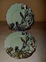 222 FIFTH Garden Playtime Bunny Rabbit 2 Salad Plate Green Gold Metallic Easter