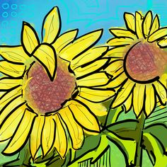 Sunflowers - Flowerly Abstracts - Square Art - Wall Art Prints - Digital Downloadable Prints #Flowers #Yellow #Sun #Square Printing Services, Online Printing, Wall Art Prints, Fine Art Prints, Square Art, Types Of Printer, Home Printers, Sunflowers, Yellow Sun