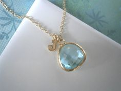 Personalized Necklace Aquamarine Blue Necklace by LisaDJewelry, $29.00