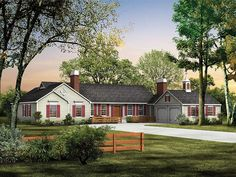 057H-0001: Sprawling Country Ranch House Plan