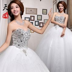Free Shipping 2014 diamond princess wedding dress tube top bride bandage wedding dress autumn and winter  Formal Dress