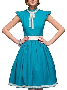 Lace Surrounded Bowknot Stand Colloar Falbala Patchwork A Line Dress For Girls on buytrends.com