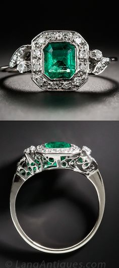 Art Deco Emerald and Diamond Ring, A rich and radiant Colombian emerald, weighing .65 carat, beams from within a sparkling diamond frame bookended by diamond-set flares on each shoulder. This classic Art Deco beauty is finished with a lovely scroll work under gallery.