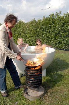 Dutch Design Wood burning hot tub/ grill... oh yeah!
