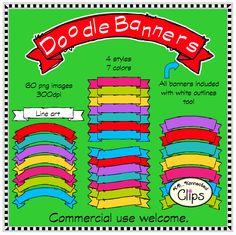Teacher Resources, Teacher Pay Teachers, Banner Clip Art, Doodle Frames, Teacher Notebook, Just Giving, Green And Purple, Banner Design, Line Art