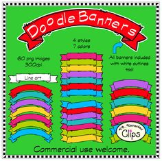 Doodle Banners $ 50% off first 48 hrs. http://www.teacherspayteachers.com/Product/Doodle-Banners-Clip-Art-1253113