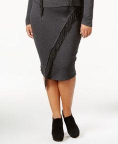 Jessica Simpson Valentina Plus Size Pull-On Fringe Skirt   macys.com