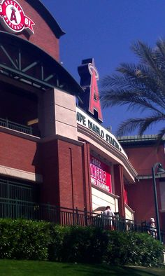 """Angels Spring Training home - Tempe Diablo Stadium. The """"A"""" is always brightly lit here!"""