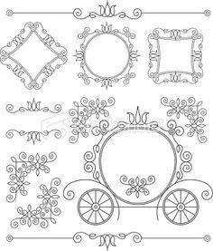 set vintage ornaments and frames Royalty Free Stock Vector Art Illustration