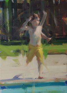 """David Shevlino: """"Running Leap"""", oil."""