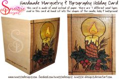 Handmade Marquetry & Pyrography Holiday Card This card is made of wood instead of paper. There are 7 different wood types used in the marquetry on t. Handmade Wooden, Handmade Crafts, Marquetry, Made Of Wood, Pyrography, Types Of Wood, Wood Burning, Holiday Cards, Shapes