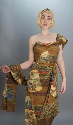1950s strapless silk hawaiian dress 50s bombshell by melsvanity, $178.00