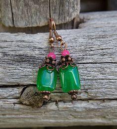 gabi111 / Svieži zelený jadeit s ružovou - náušnice