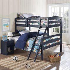Dorel Living Brady Graphite Blue Twin over Full Bunk Bed