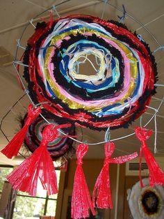 coat hanger weaving with different materials
