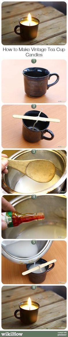 How to Make Vintage Teacup Candles #diy