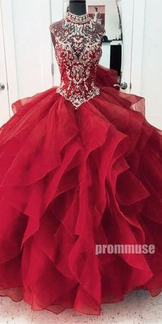 High Neck Beaded Top Long Prom Ball Gown Dresses SPE121 #promdress #promdresses #longpromdress #longpromdresses