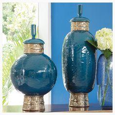 Beautiful Cobalt Blue Ceramic Jar/Accent Color Platinum Short: 11″Dia. x 20″H