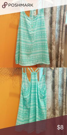 Sleeveless aztec blouse Purchased from Marshalls but never worn. Very loose and flowy fit. Blue and white aztec pattern with buttons down front. Polyester. Pink Rose Tops Blouses