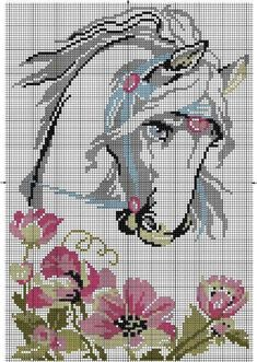 Discover thousands of images about Horse, free cross stitch patterns and charts - www. Cross Stitch Horse, Beaded Cross Stitch, Cross Stitch Animals, Cross Stitch Flowers, Counted Cross Stitch Patterns, Cross Stitch Charts, Cross Stitch Designs, Cross Stitch Embroidery, Horse Flowers