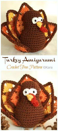 Amigurumi Turkey Crochet Free Patterns - Crochet & Knitting Crochet Birds, Crochet Hats, Crochet Granny, Free Crochet, Halloween Crochet Patterns, Winter Craft, Pattern Images, Autumn, Fall