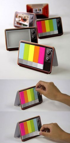 Mini TV Memo Pads. The one time I would actually like to see the crazy TV rainbow in a screen