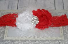Red and Gold Hair Bow Holiday Hair Bow by EdelweissBowtique