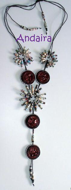 Andairadas: Collar hecho con papel y cápsulas nespresso. TUTORIAL
