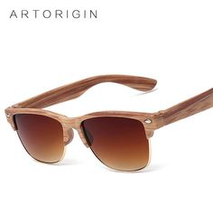 5c3a2872c Half Frame Wood Sunglasses Women Men Wooden. Oculos De SolÓculos ...