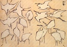 Cranes from Quick Lessons in Simplified Drawing, 1823 by Katsushika Hokusai. Ukiyo-e. animal painting