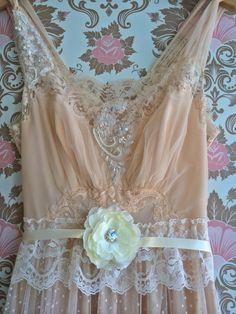 peach & cream alencon lace and polka dot by mermaidmisskristin, $185.00