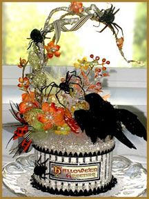 Halloween custom cake toppers, centerpieces and favors boxes! Each piece is handmade with every attention to detail. Even the spooky spiders are handmade out of paper! Halloween Items, Halloween Gifts, Halloween Cards, Holidays Halloween, Vintage Halloween, Happy Halloween, Halloween Decorations, Halloween Centerpieces, Halloween Fairy