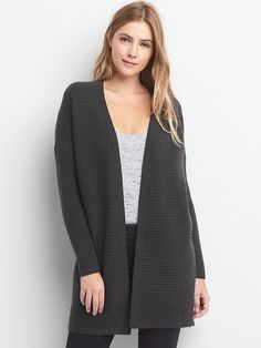 Gap Womens Ribbed Open Front Cardigan Charcoal Heather
