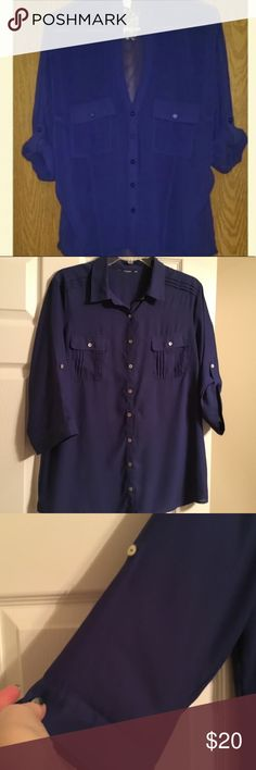 """Double Zero Blouse Tag cut out for comfort.  Worn once. Sheer with roll up sleeves.  Measures 28"""" from shoulder and 21"""" across bust. Actual color in first picture Double Zero Tops Blouses"""